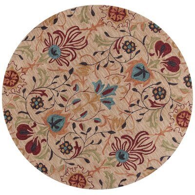 Guillory Hand-Hooked Beige/Red Area Rug Rug Size: Round 56