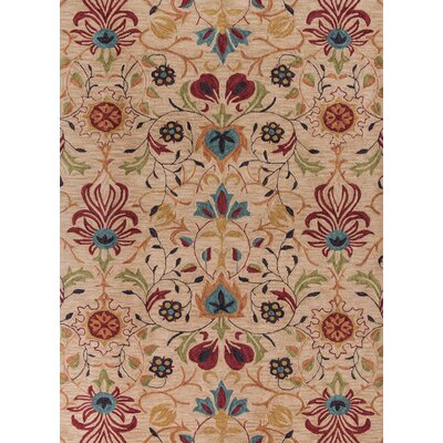 Guillory Hand-Hooked Beige/Red Area Rug Rug Size: Rectangle 5 x 76