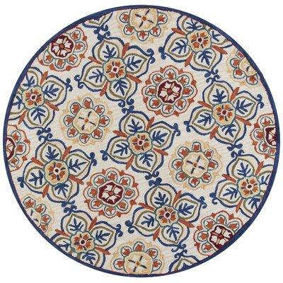 Guillory Hand-Hooked Ivory/Blue Area Rug Rug Size: Round 56