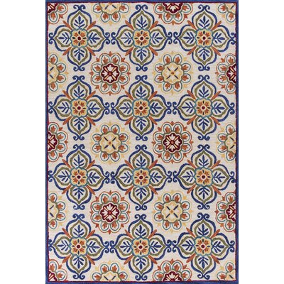 Guillory Hand-Hooked Ivory/Blue Area Rug Rug Size: Rectangle 5 x 76