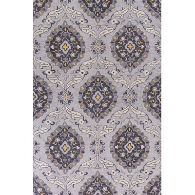 Guillory Hand-Hooked Gray/Yellow Area Rug Rug Size: Rectangle 5 x 76