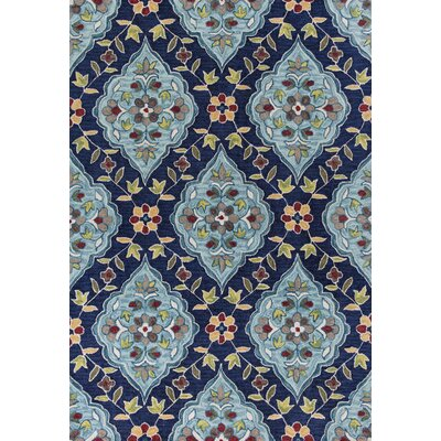 Guillory Hand-Hooked Navy Blue/Yellow Area Rug Rug Size: 33 x 53
