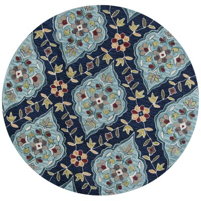 Guillory Hand-Hooked Navy Blue/Yellow Area Rug Rug Size: Round 56