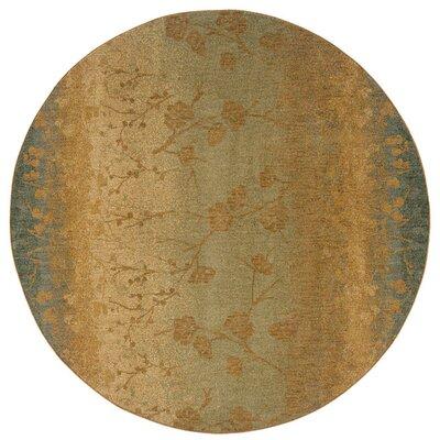 Tindell Beige/Blue Area Rug Rug Size: Round 78