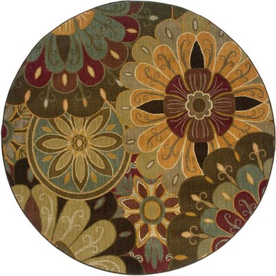 Mathis Tan/Blue Area Rug Rug Size: Round 78