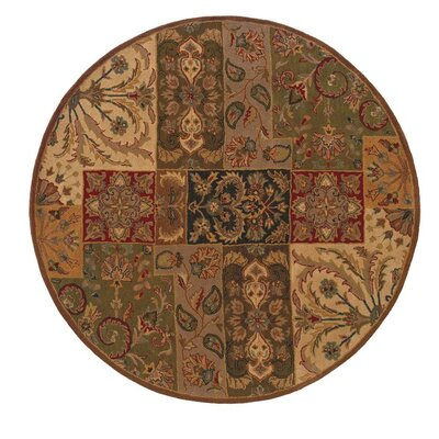 Mayhugh Hand-made Beige/Brown Area Rug Rug Size: Round 76