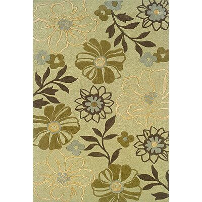 Maynes Green/Brown Area Rug Rug Size: 36 x 56