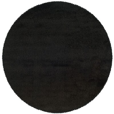 Mazon Solid Black Shag Area Rug Rug Size: Round 6