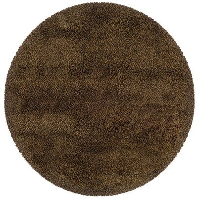 Mazon Tweed Brown/Gold Area Rug Rug Size: Round 6