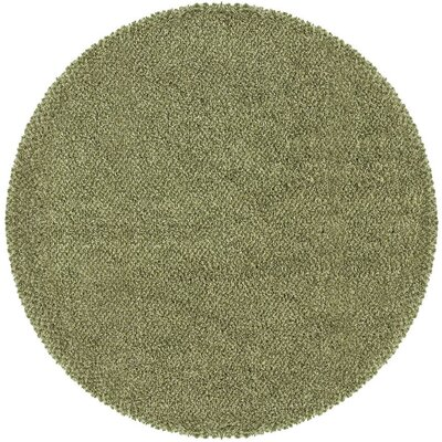 Mazon Tweed Green/Ivory Area Rug Rug Size: Round 6