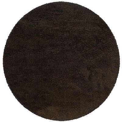 Mazon Tweed Brown/Black Area Rug Rug Size: Round 6