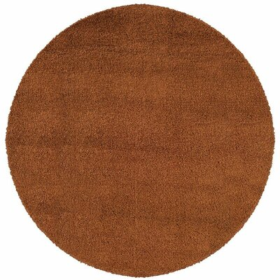 Mazon Tweed Rust/Brown Area Rug Rug Size: Round 8