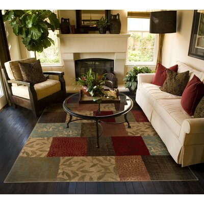 Matteson Green/Red Area Rug Rug Size: 53 x 76