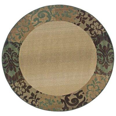 Sabanc Beige/Green Area Rug Rug Size: Round 6
