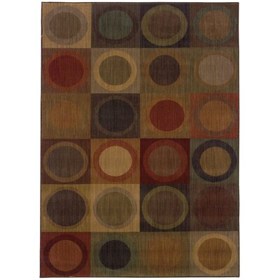 Ryles Green/Brown Area Rug Rug Size: 53 x 76
