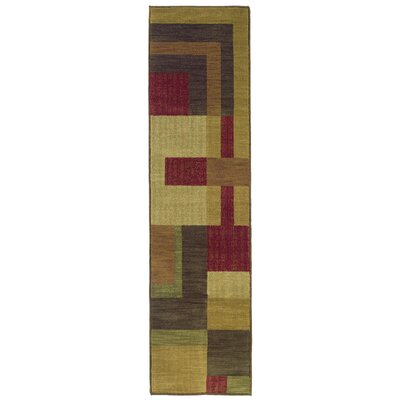 Ryles Red/Gold Area Rug Rug Size: Runner 111 x 76