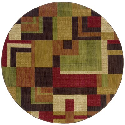 Ryles Red/Gold Area Rug Rug Size: Round 78