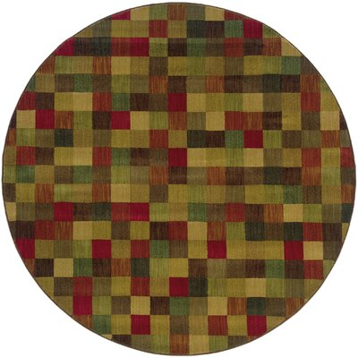 Ryles Brown/Red Area Rug Rug Size: Round 78
