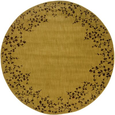 Ryles Gold/Brown Area Rug Rug Size: Round 78