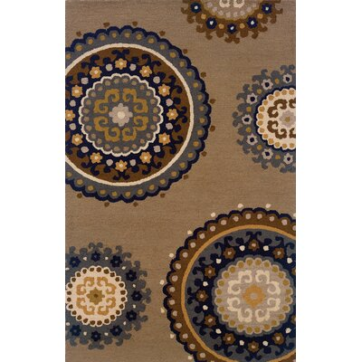 Maxson Hand-Made Taupe/Blue Area Rug Rug Size: Rectangle 36 x 56