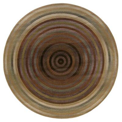 Matilda Beige/Green Area Rug Rug Size: Round 6