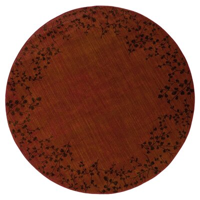 Ryles Floral Red Area Rug Rug Size: Round 78