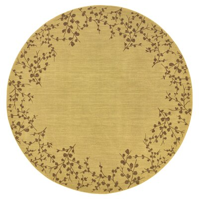 Ryles Floral Beige Area Rug Rug Size: Round 78