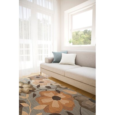 Mathis Floral Blue/Gray Area Rug Rug Size: 5'3