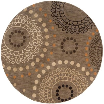 Mathis Geometric Brown Area Rug Rug Size: Round 78