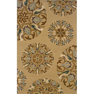 Maxson Floral Handmade Brown/Tan Area Rug Rug Size: Rectangle 8 x 10