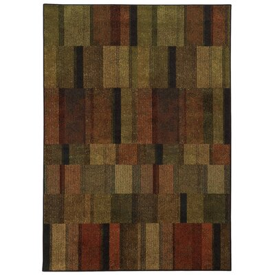 Schaeffer Brown/Green Area Rug Rug Size: 53 x 76