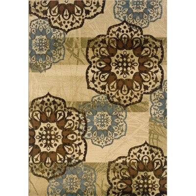 Matteson Beige/Blue Area Rug Rug Size: Rectangle 1'10