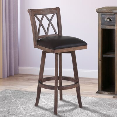 Westville 26 Swivel Bar Stool with Cushion Finish: Wire Brushed Brown