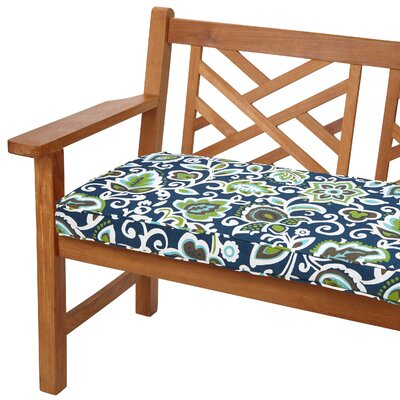 Dyer Outdoor Bench Cushion Fabric: Floral Navy, Size: 48 W x 19 D