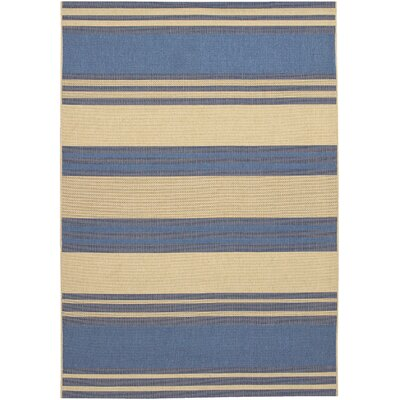 Sansom Blue/Cream Indoor/Outdoor Area Rug Rug Size: 37 x 55