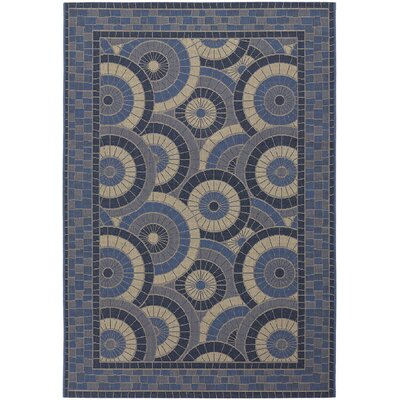 Sansom Sundial Blue Indoor/Outdoor Area Rug Rug Size: 37 x 55