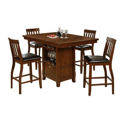 Dore 7 Piece Pub Table Set Finish: Brown