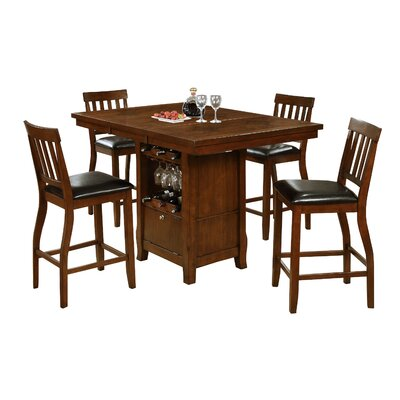 Dore 5 Piece Pub Table Set Finish: Brown