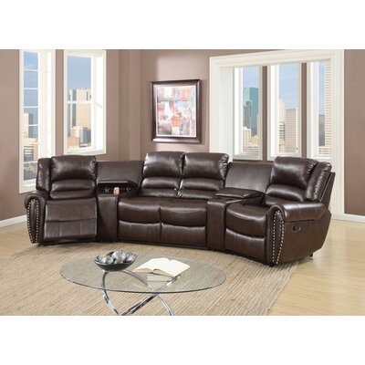 Home Theater Sectional Upholstery: Brown