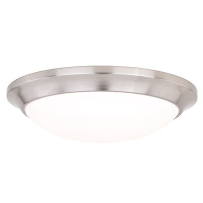 Schoonmaker 1-Light LED Flush Mount Base Finish: Satin Nickel, Size: 3 H x 12 W x 12 D