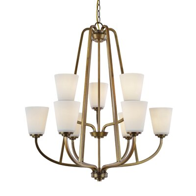 Quarry 9-Light Shaded Chandelier Finish: Vintage Brass