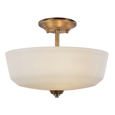 Quarry 3-Light Semi-Flush Mount Base Finish: Vintage Brass