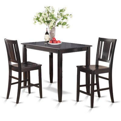 Lightner 3 Piece Counter Height Dining Set Finish: Black