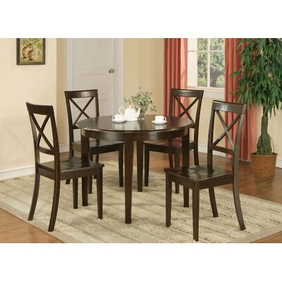 Hillhouse 5 Piece Dining Set Finish: Cappuccino, Upholstery: Wood Seat