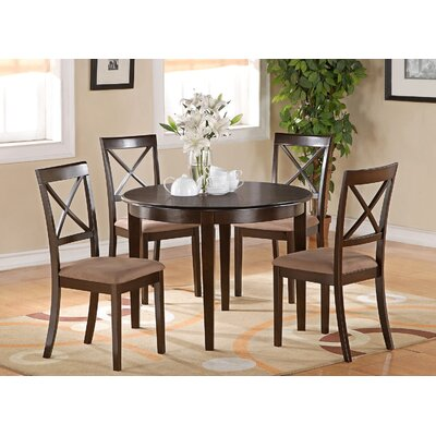Hillhouse 5 Piece Dining Set Finish: Cappuccino, Upholstery: Microfiber Cushion