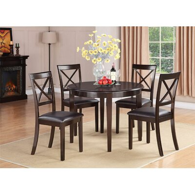 Hillhouse 5 Piece Dining Set Finish: Cappuccino, Upholstery: Faux Leather