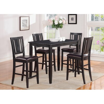 Lightner 5 Piece Counter Height Dining Set Finish: Black, Chair Upholstery: Faux Leather
