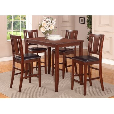 Lightner 5 Piece Counter Height Dining Set Finish: Mahogany, Chair Upholstery: Faux Leather