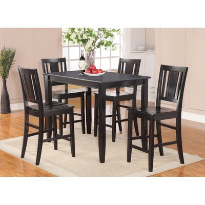 Lightner 5 Piece Counter Height Dining Set Finish: Black, Chair Upholstery: Non-Upholstered Wood