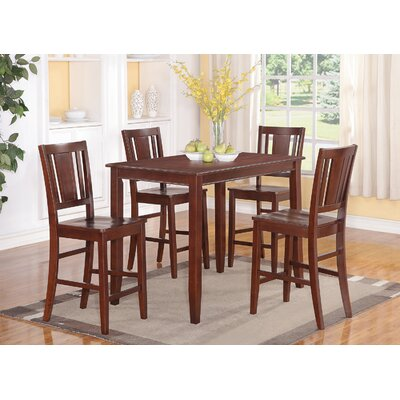 Lightner 5 Piece Counter Height Dining Set Finish: Mahogany, Chair Upholstery: Non-Upholstered Wood